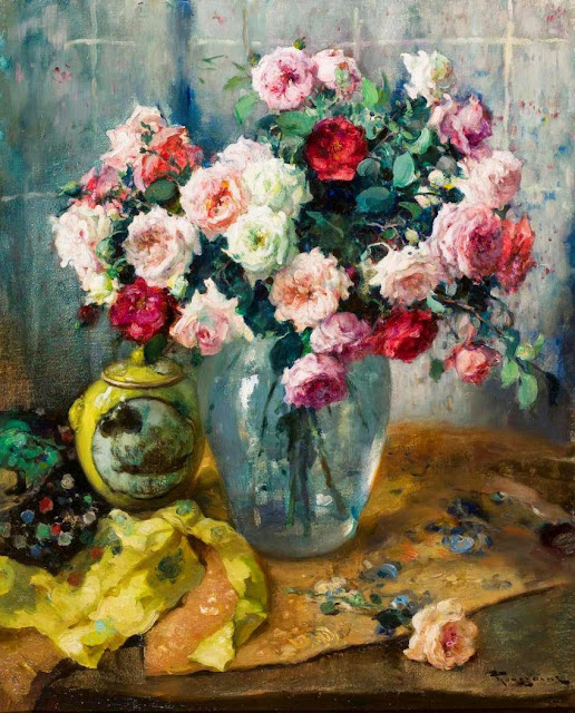 Fernand Toussaint - Still Life with Roses and Porcelain