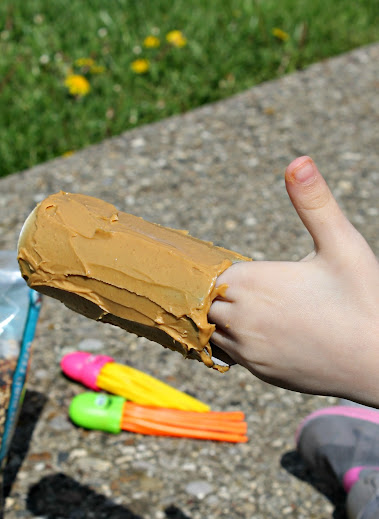 Spread peanut butter on the outside of the cardboard tubes
