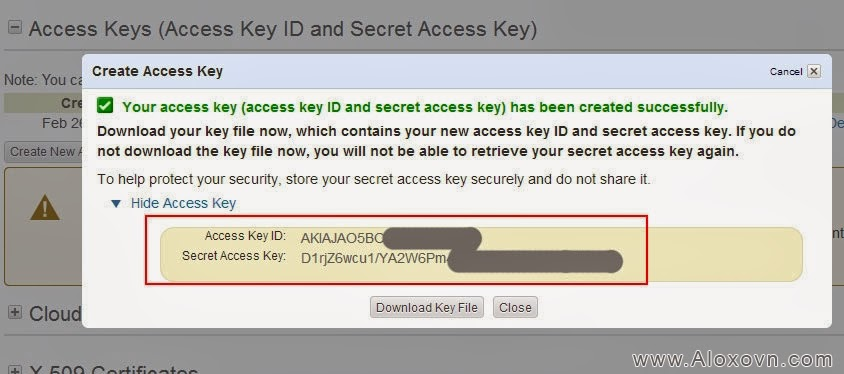 Show Access Key ID and Secret Access Key Email Amazon SES
