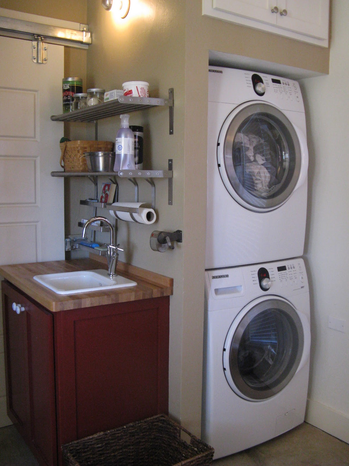 Stackable Washer and Dryer Laundry Room Design