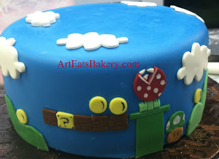 Blue fondant Mario Bros custom creative birthday cake design idea picture