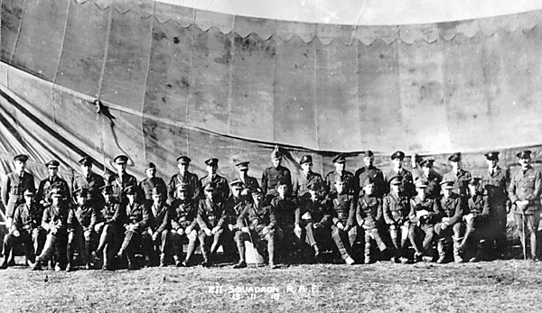 2nd Lt W J Large - 2nd in RHS front row - 13 Nov 1918 Officers of 211 Squadron RAF