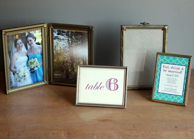 Assorted brass frames available for rent from www.momentarilyyours.com, $1.00 each.