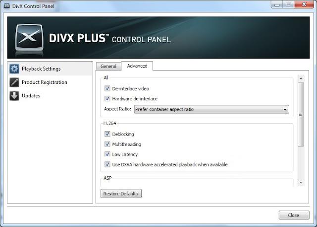 DivX Plus Control Panel