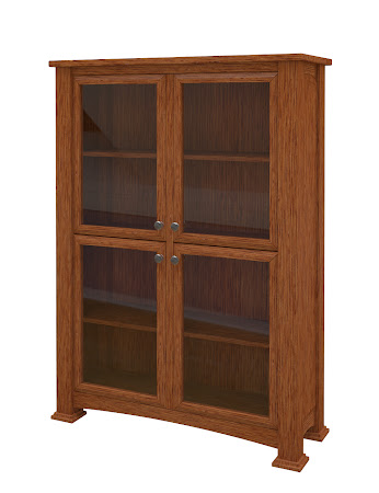 Concord Glass Door Bookshelf in Washington Quarter Sawn Oak