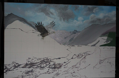 Work in Progress, Underpainting. Source shows close up Distant mountains start.