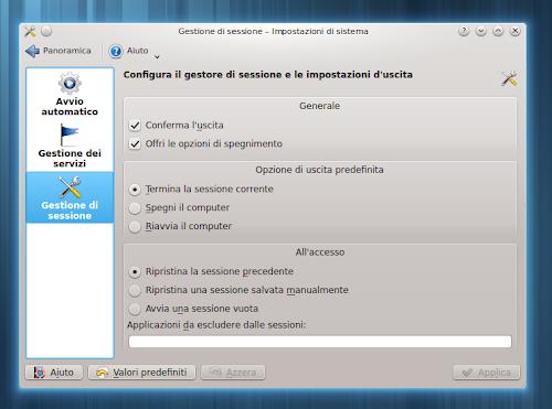 KDE - Gestione di Sessione
