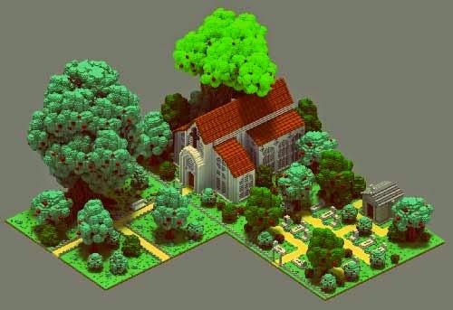 iglesia del medievo en voxelart