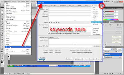 Open File Info dialog in Photoshop from File > File Info