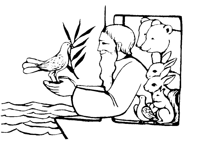 Imágenes de Noé y ave con hoja de laurel para colorearImágenes de Noé y ave con hoja de laurel para colorear