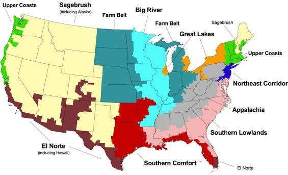 Re regionalizing the american continent geographer notes 10 us voting regions from the boston globe 2004 sciox Choice Image