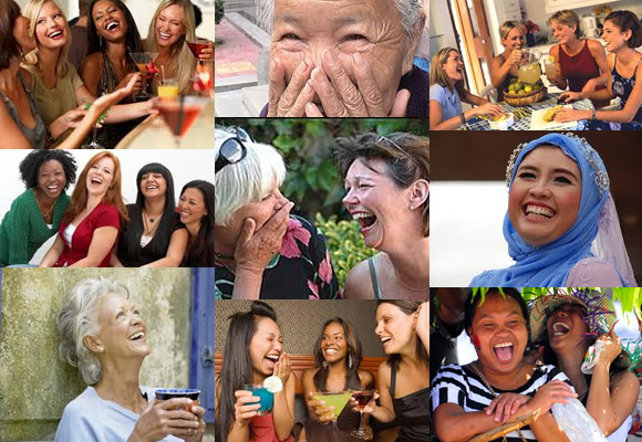 Photomontage of women of many races and ages, laughing