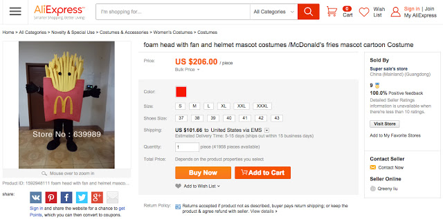 portion of a web page for McDonald's french fries costume sold on AliExpress