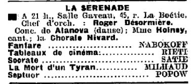 24 Mai 1933 Paris Salle Gaveau 7eme Concert De La Serenade Et Alanova