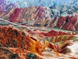 Цветные скалы в Китае Чжанъе Данксиа