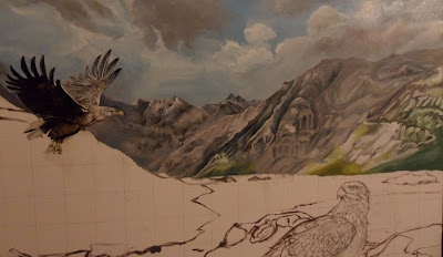 Work in Progress, Underpainting. Source shows close up of Mid mountains complete.