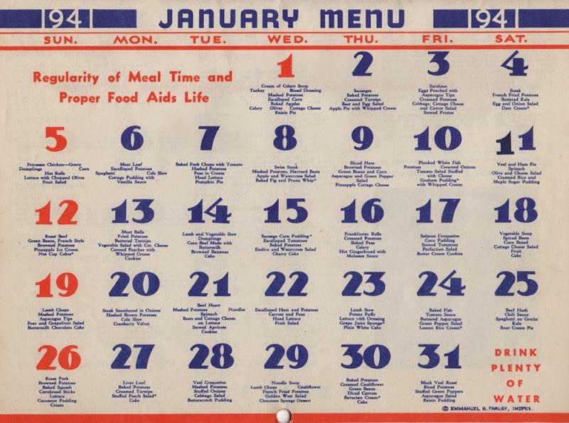 January 1941 Menu