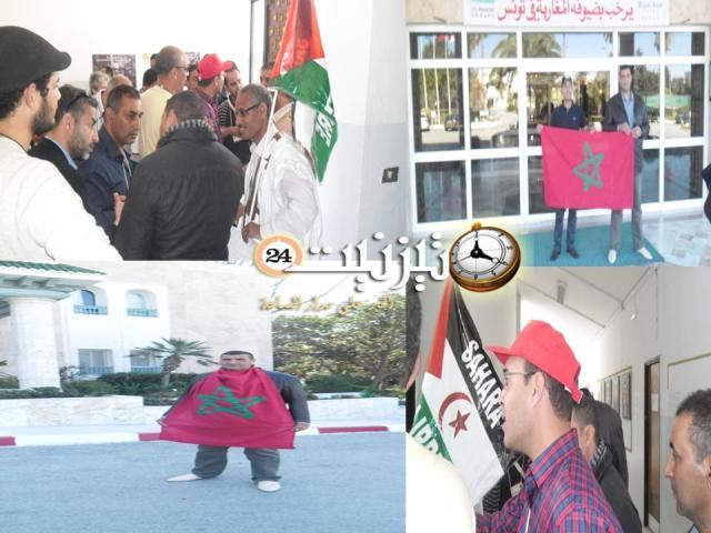 صور احتكاك الوفد المغربي مع أزلام ( البوليزاريو) بتونس