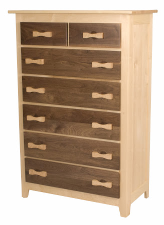 60 x 40 Shaker Vertical Dresser in Natural Hard Maple Frame and Walnut Drawers, with Custom Zen Hardware in Birds Eye Maple