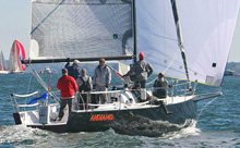 J/111 one-design racer sailing on Long Island