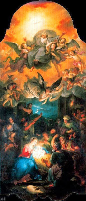 Anton Raphael Mengs - Adoration of the Shepherds with God in a glory of angels