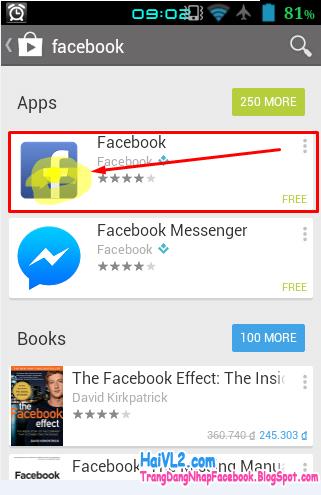 chạm để bắt đầu cài đặt facebook
