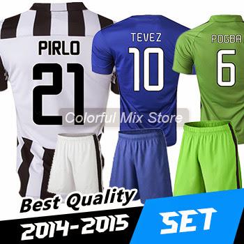 Free Shipping 2015 JUVE kits Football kits POGBA PIRLO