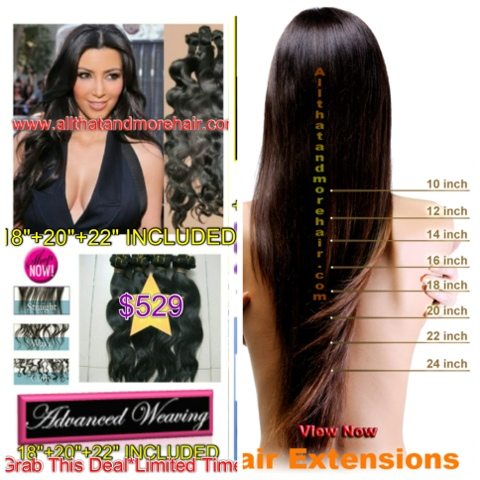 22 Inch Sew In Human Hair Extensions Triple Weft Hair