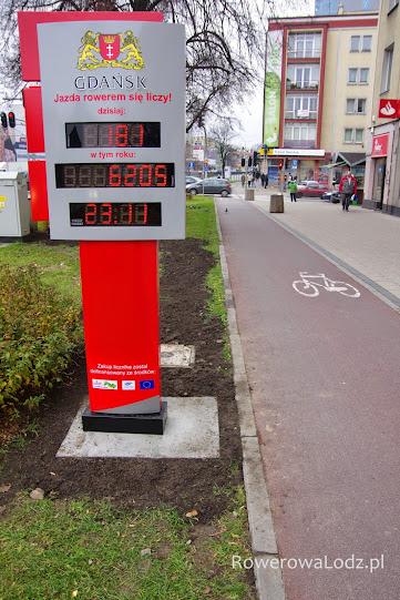 Pierwsze w Gdańsku liczydło rowerowe. Pokazuje poza liczbą rowerzystów także datę i temperaturę.