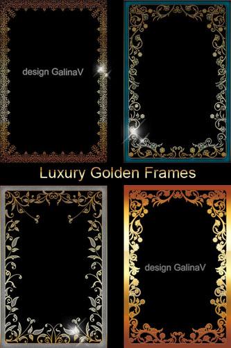 PSD-исходник - Роскошные золотые ажурные рамки для фото дизайна