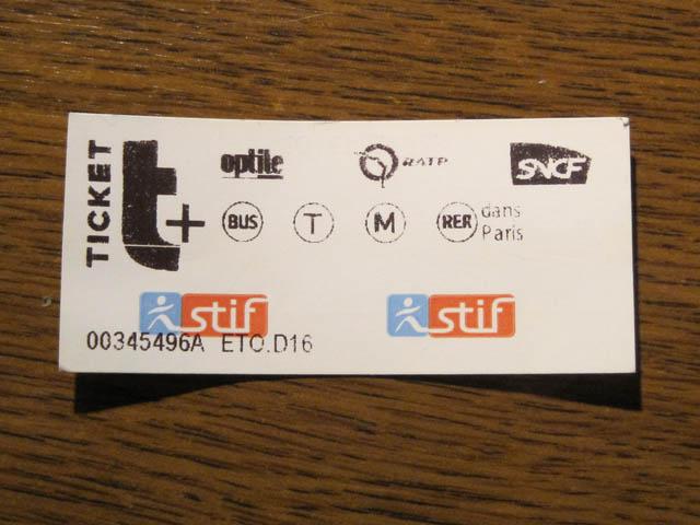 パリ地下鉄切符