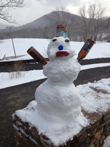 artful snow man at Penland