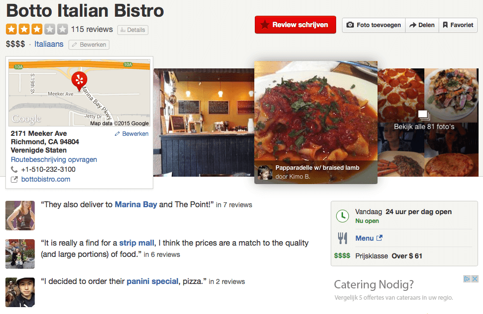 Botto Italian Bistro: Hate us on Yelp (2015-02-05)