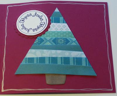 Joulukuusikortti paperisuikaleista