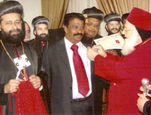 Indian Expatriate Honoured By Syrian Orthodox Church