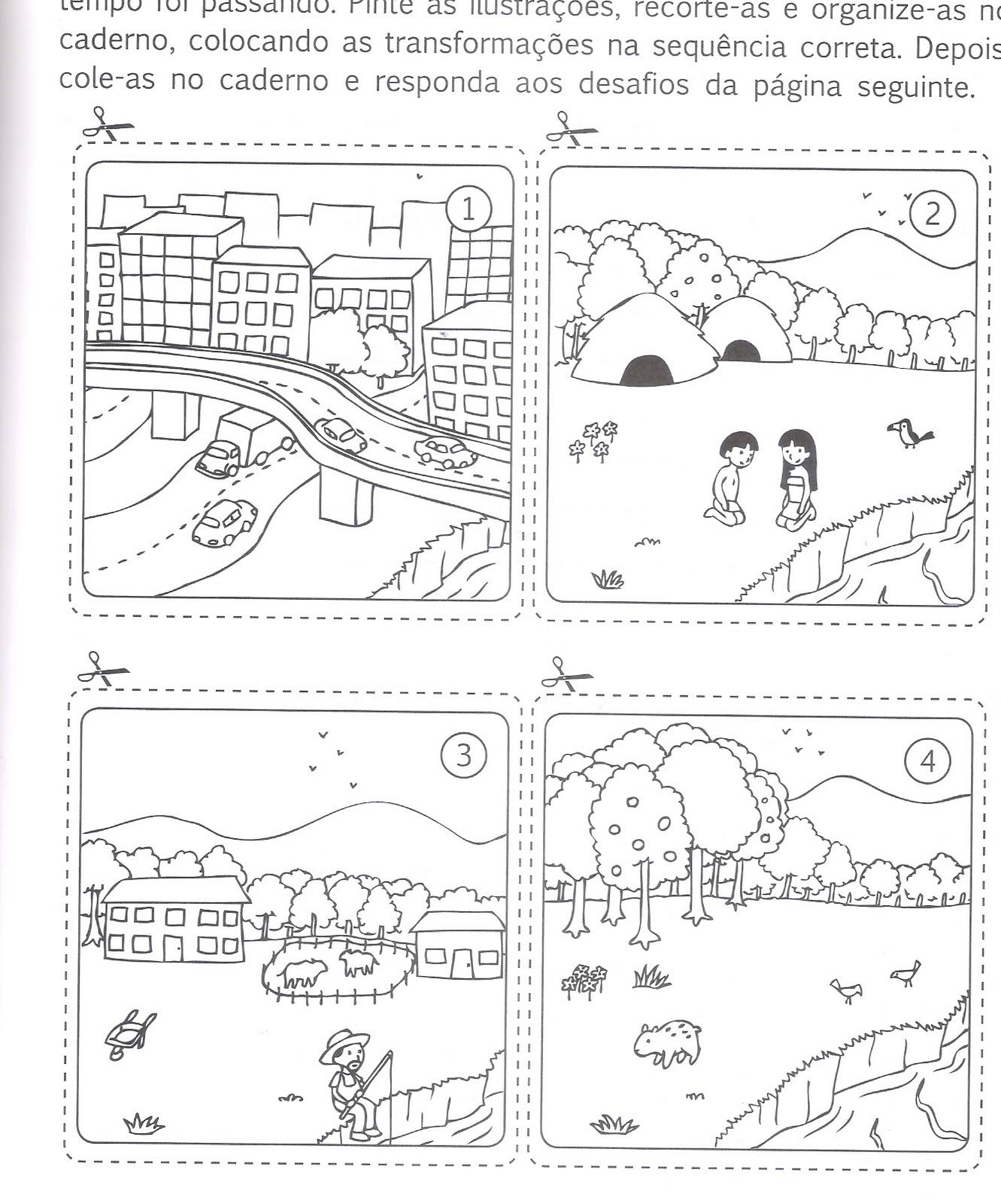 atividades alfabetizacao jardim horta pomar:Qual das cenas representa um espaço natural? Explique sua escolha