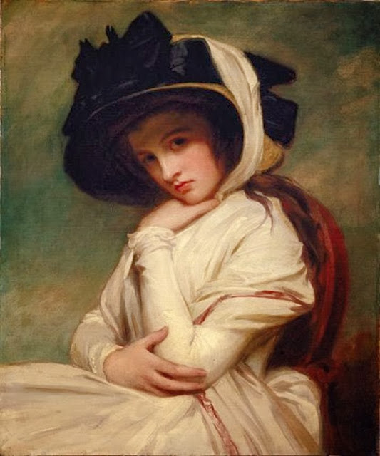 George Romney - Emma Hart in a Straw Hat