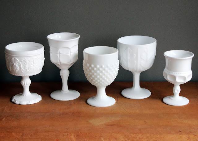 Milk glass goblets available for rent from www.momentarilyyours.com, $1.00 each.