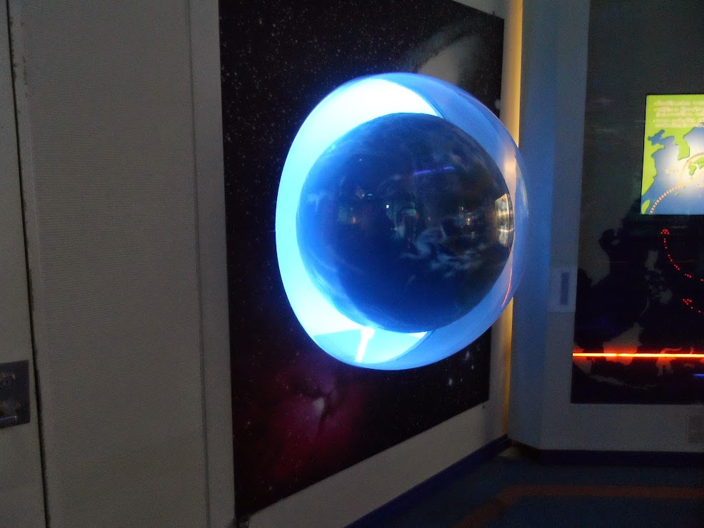 Crystal globe with blue light