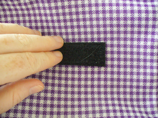 9.	Apply Velcro fasteners to the front and back of the bag. I used a Velcro fastener with an adhesive back.