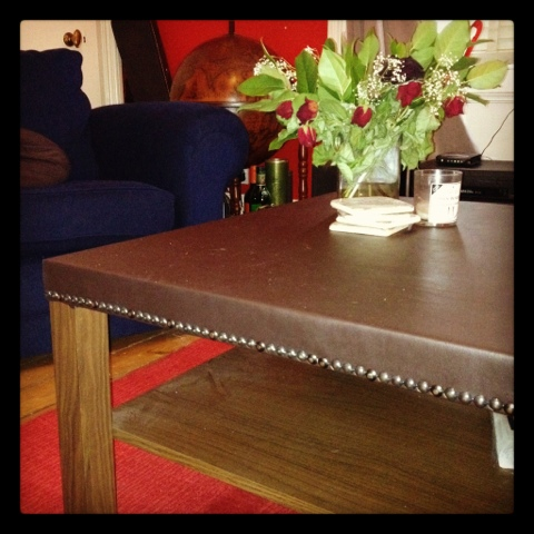 I should coco diy studded leather coffee table for Coffee table with studs