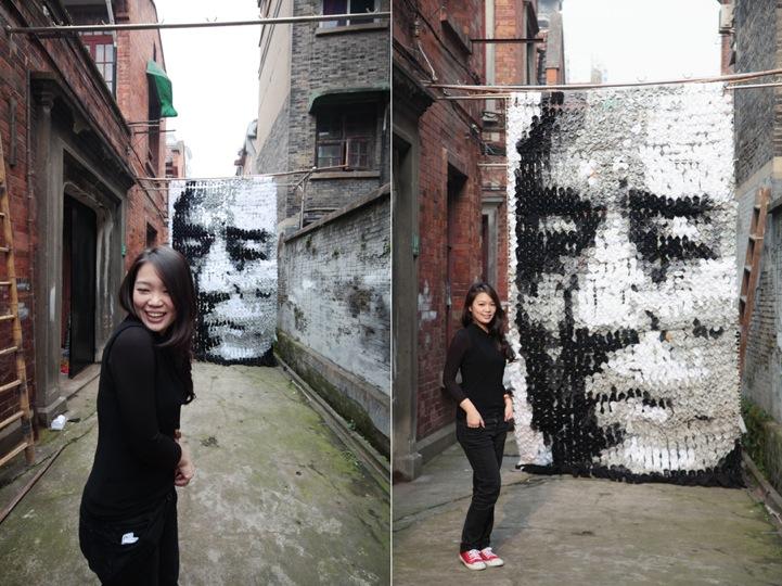 Креативен портрет от 750 чифта чорапи