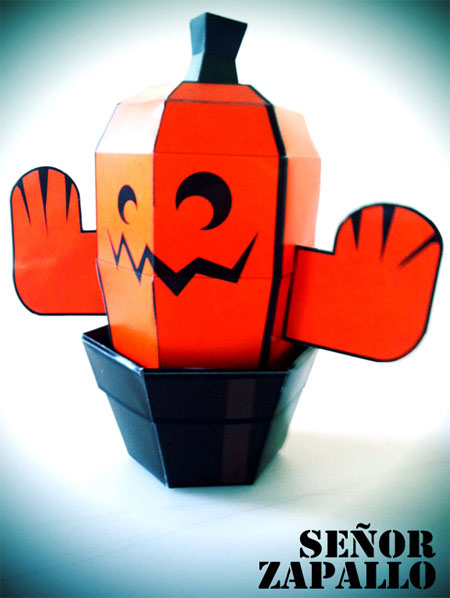Senor Zapallo Halloween Pumpkincactus Paper Toy