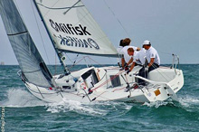 J/80 World Champion Nilfisk sailing upwind