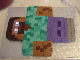 Mindcraft Herobrine custom creative birthday cake design with lighted eyes