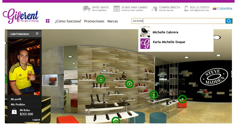 GIFERENT, plataforma virtual que recrea la experiencia de ir a un Centro Comercial real