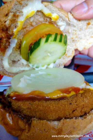 Inside a burger