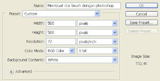 Membuat star brush dengan photoshop