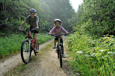 A walk in the forest mountain biking family