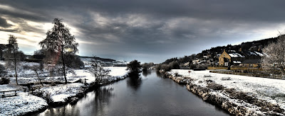 A wintry scene by the River Coquet at Rothbury